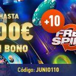 Giros gratis en Sportium por junio y hasta 100€ de bono