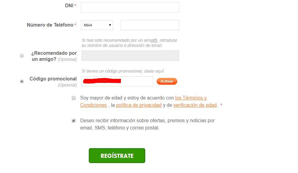 registro botemania introducir código