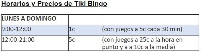 tiki bingo horario precios